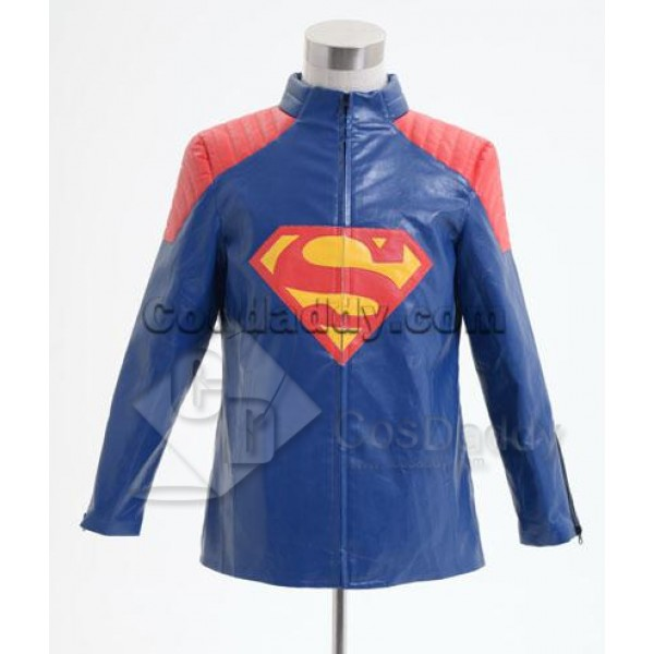 Smallville Superman Blue Leather Jacket Cosplay Co...