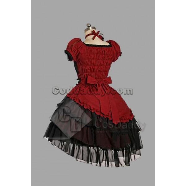 Red Cotton Yarn Classic Lolita Dress Cosplay Costume