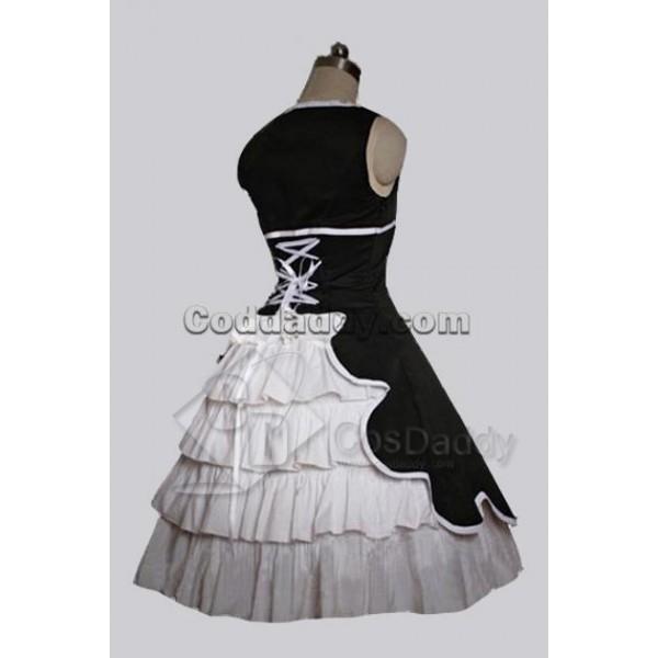 Black Cotton Gothic Lolita Dress Cosplay Costume