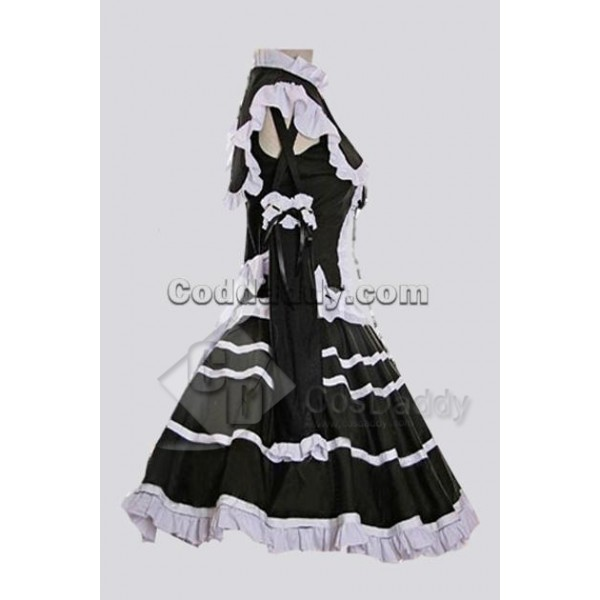 Black Cotton Bandage Striped Gothic Lolita Dress Cosplay Costume
