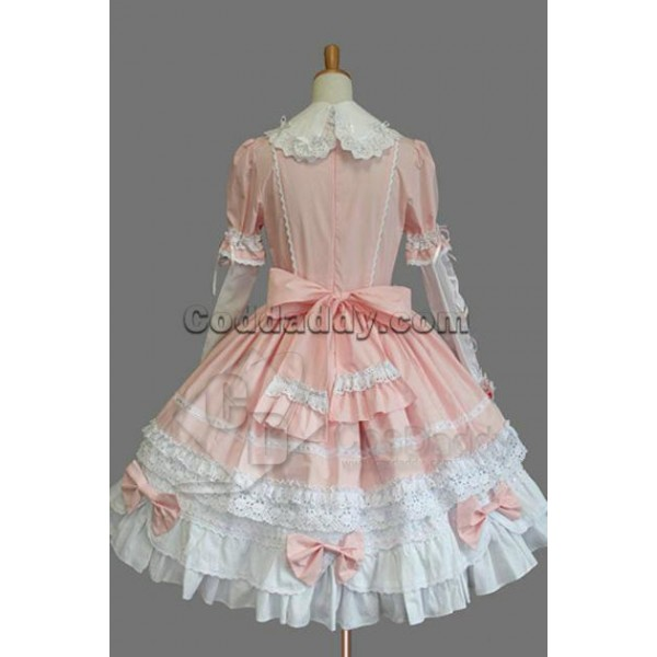 Gothic Lolita Long Sleeves Pink and White Dress Cosplay Costume