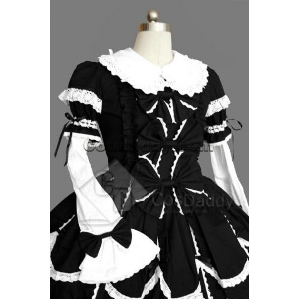 Gothic Lolita Long Sleeve White Black Dress Cosplay Costume