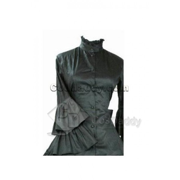 Gothic Lolita Long Sleeve Black Dress Cosplay Costume