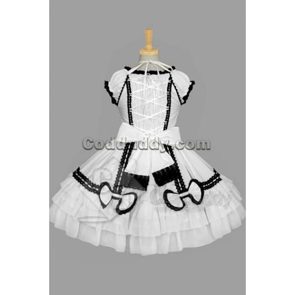 Gothic Lolita Sleeveless Black Lace White Dress Cosplay Costume