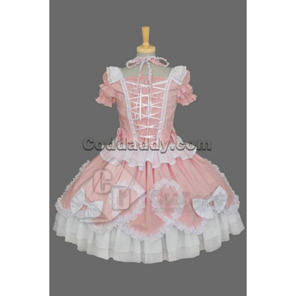 Gothic Lolita Short-Sleeve Maid's Uniform Dress Pink Cosplay Costume