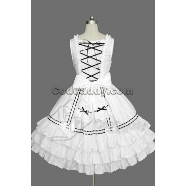 Gothic Lolita Sleeveless White and Black Lace Dress Cosplay Costume