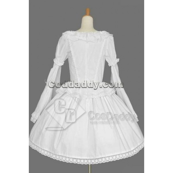 Gothic Lolita Long Sleeves White Dress Cosplay Costume