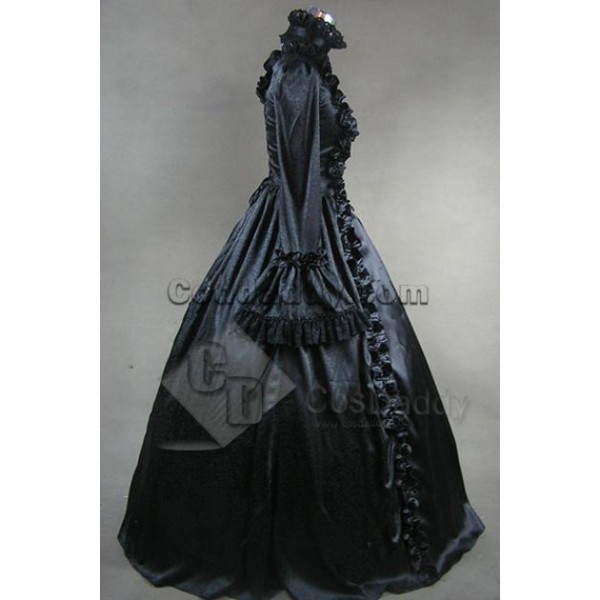 Victorian Gothic Satin Jacquard Dress Ball Gown Cosplay Costume