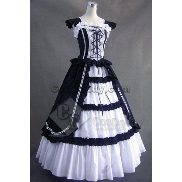 Victorian Gothic Lolita Cotton Dress Ball Gown Cosplay Costume
