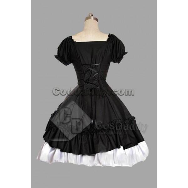 Black And White Satin Yarn Lolita Dress Cosplay Costume
