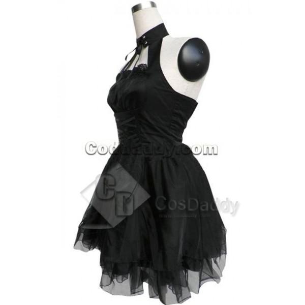 Black Cotton Polyester Sleeveless Bandage Halter Pleated Lolita Dress Cosplay Costume