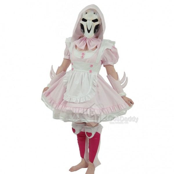 Cosdaddy Overwatch Reaper Gabriel Reyes Pink Knight Dress Cosplay Costume