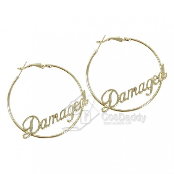 CosDaddy Harley Quinn Womens Fashion Damaged Round Hoop Earrings Set