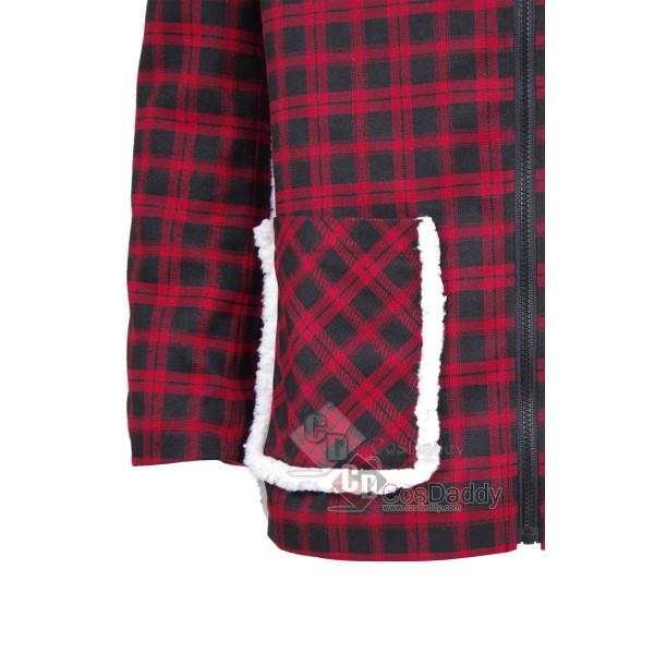 Marvel Comics Deadpool Red And Black Grid Cotton Jacket Coat Cosplay Costume