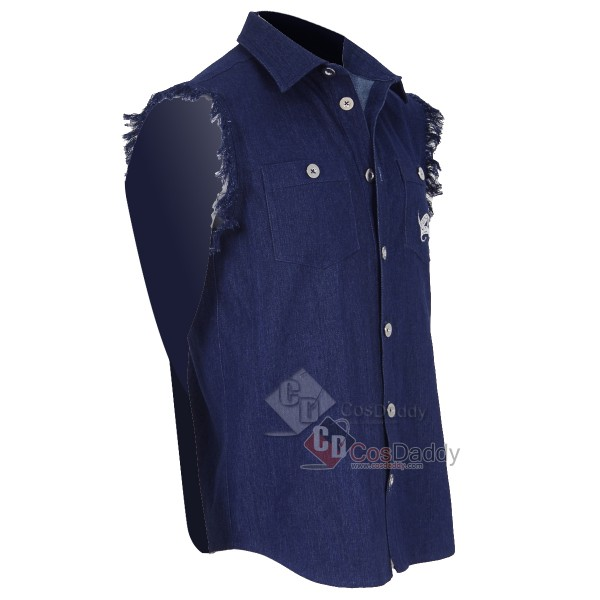 Band AC/DC Brian Johnson Sleeveless Shirt Cosplay Costume