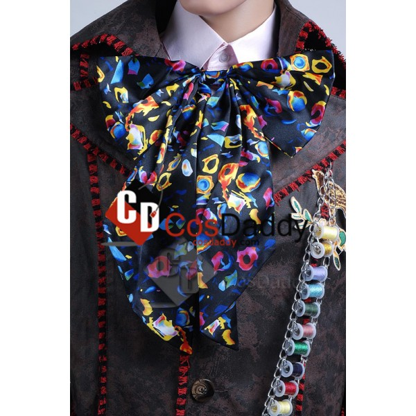 Alice In Wonderland Johnny Depp Mad Hatter Jacket Pants Tie 6 pcs Cosplay Costume