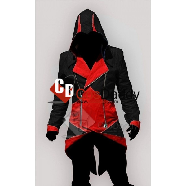 Assassin's Creed III Connor Kenway Coat Jacket Hoodie Black Red Cosplay Costume