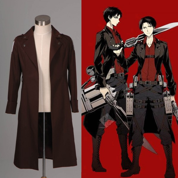 Attack on Titan Shingeki no Kyojin Eren Jaeger Rivaille New Long Coat Cosplay Costume