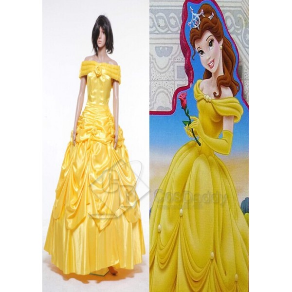 Beauty and the Beast Belle Evening Gown Yellow Dress Cosplay Costume