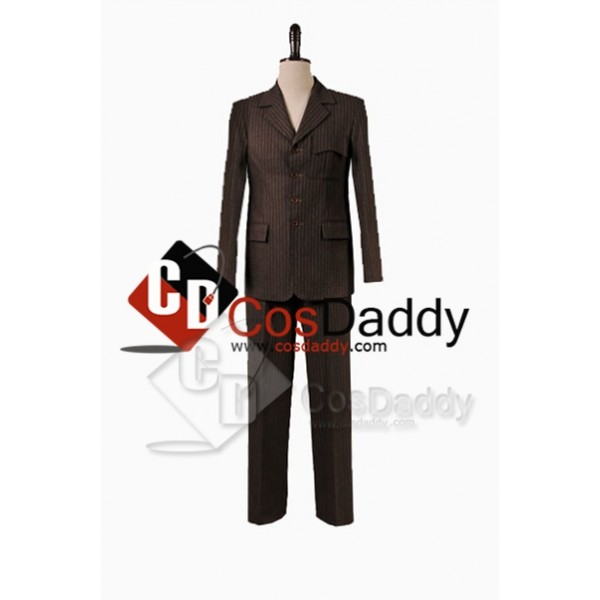 Doctor Who Ten 10th  Brown Trench Coat Suit  full set Costume