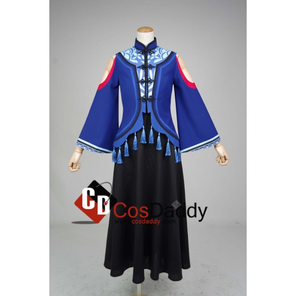 Chinese Game JX Online III Black Blue Dress Cosplay Costume