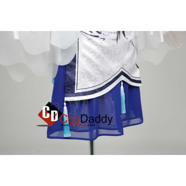 Chinese Game JX Online III White Blue Dress Cosplay Costume