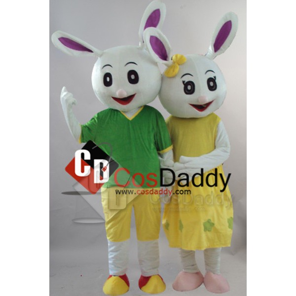 Couple Rabbits Mascot Fancy Dress Outfit Costume