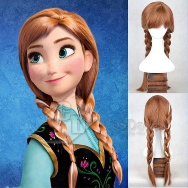 Disney Princess Frozen Snow Queen Anna Brown Weave Wig