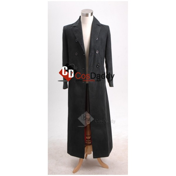 Doctor Who 11th Eleventh Doctor Long Black Trench Coat Cosplay Costume