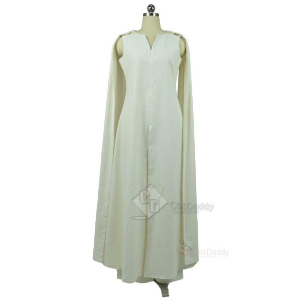 Game of Thrones Queen Daenerys Targaryen White Long Dress Cosplay +White Cape Costume