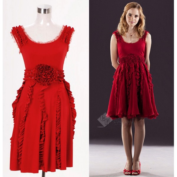 Harry Potter and the Deathly Hallows Hermione Granger Red Dress Cosplay Costume