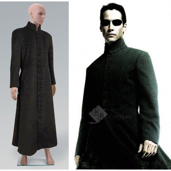 The Matrix Neo Black Wool Trench Coat Cosplay Costume
