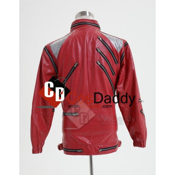 Michael Jackson Beat It Thriller Red Zipper Jacket Cosplay Costume