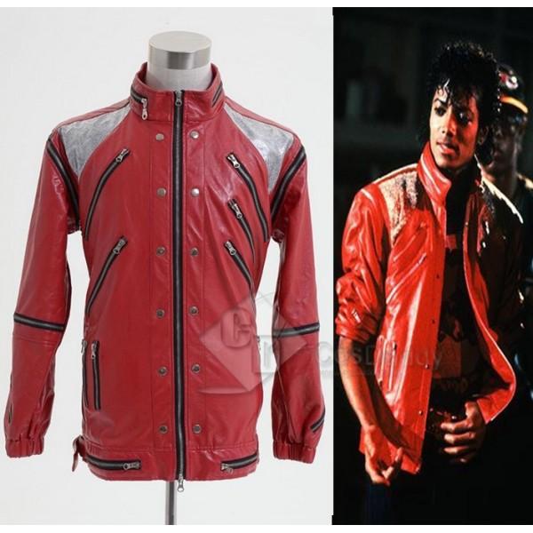 Michael Jackson Beat It Thriller Red Zipper Jacket Cosplay Costume