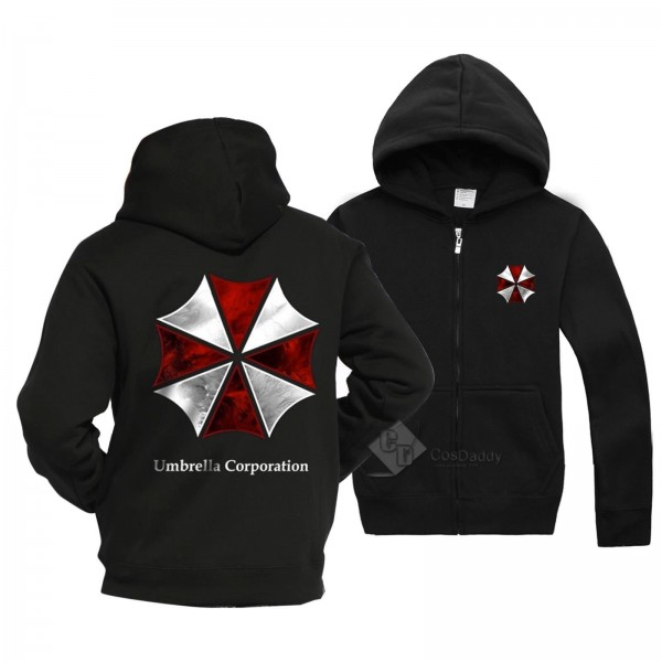 Resident Evil Biohazard Umbrella Corporation Black Cotton Hoodie Jacket Costume