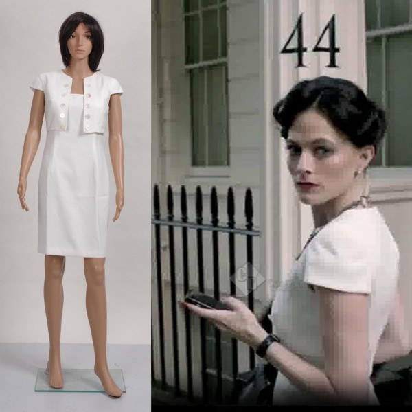 Sherlock Holmes Irene Adler Ivory White Bolero Sheath Dress Cosplay Costume