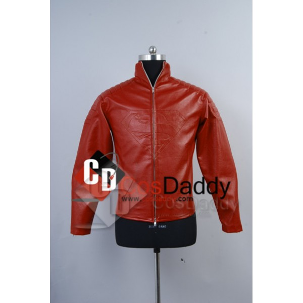 Smallville Clark Kent Red Leather Jacket Cosplay C...