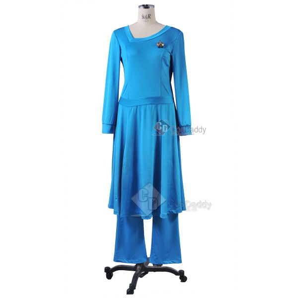 Star Trek TNG the Next Generation Deanna Troi Blue Dress  Costume