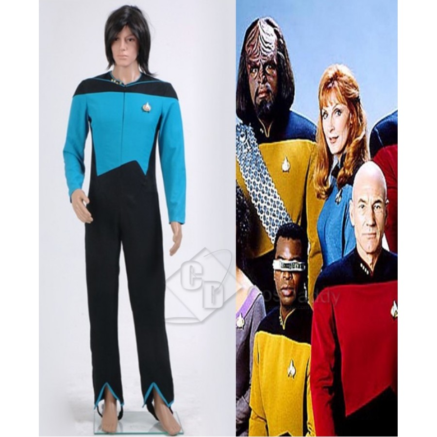 Star Trek TNG Medical Science Uniform Teal Cosplay Costume Blue Jumpsuit{l】