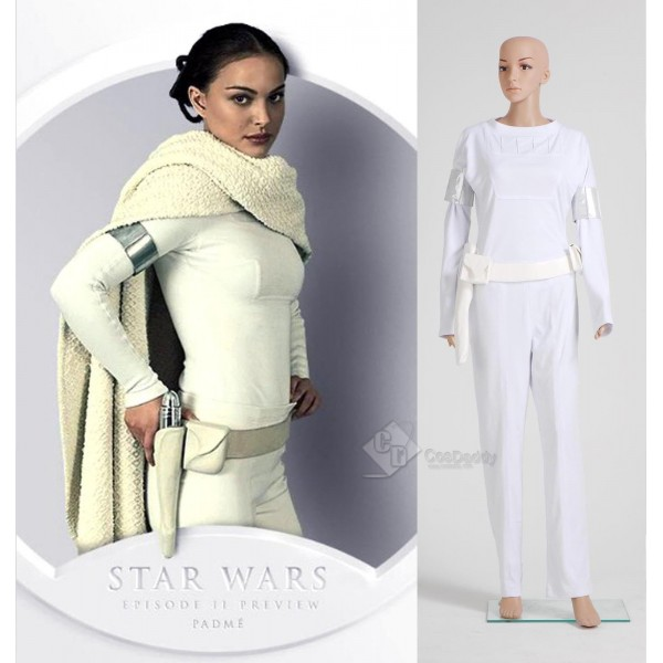 Star Wars Padme White Shirt Pants Cosplay Costume