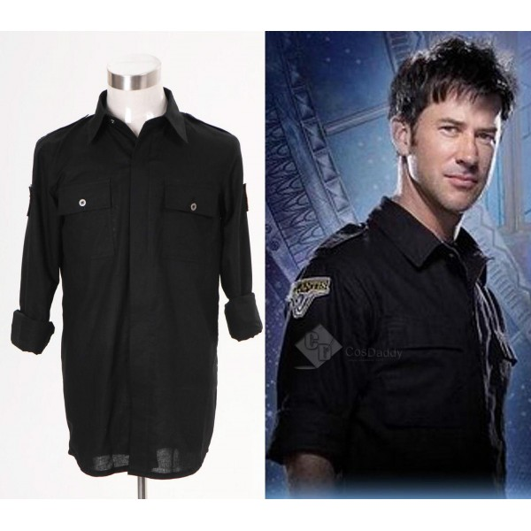 Stargate Atlantis John Sheppard Black Shirt Uniform Cosplay Costume