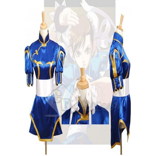 Street Fighter Chun Li Halloween Blue Dress Cosplay Costume