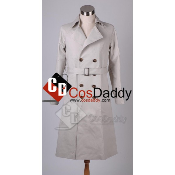 Supernatural Castiel Twill Trench Coat Cosplay Cos...