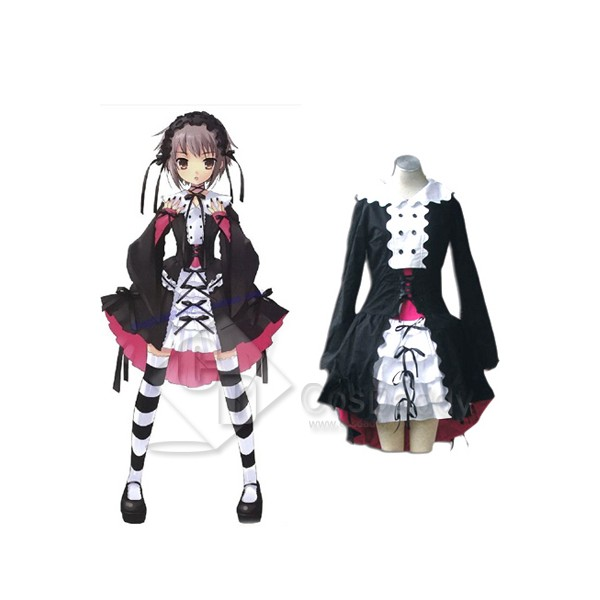 The Melancholy of Haruhi Suzumiya Nagato Yuki Black Maid Lolita Cosplay Costume