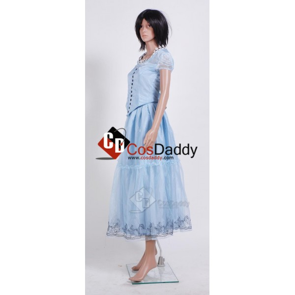 Tim Burton's Alice In Wonderland Alice Blue Dress Cosplay Costume