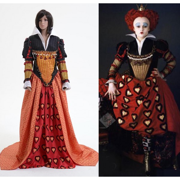 Tim Burton Alice In Wonderland Red Queen Dress Cosplay Costume