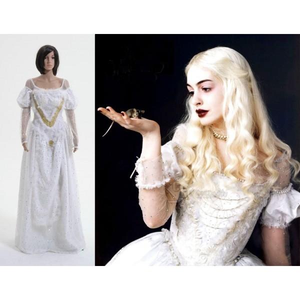 Tim Burton's Alice In Wonderland Robe Reine Blanche Cosplay Costume