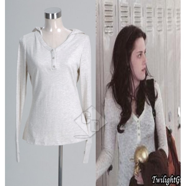 Twilight Bella Cream Thermal Hooded Top Shirt Cosplay Costume