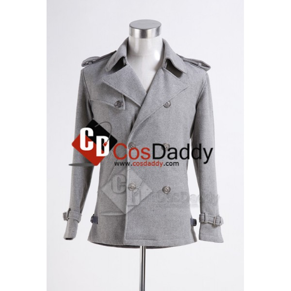 Twilight Edward Cullen Grey Pea Coat Cosplay Costu...