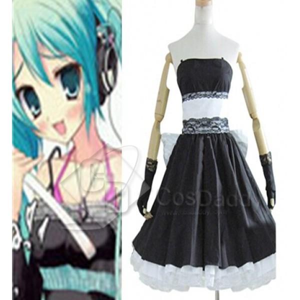 Vocaloid Hatsune Miku Black Dress Cosplay Costume